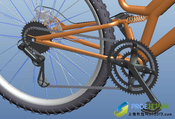 proe自行车模型下载