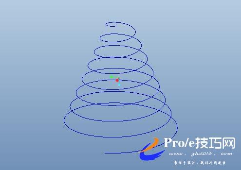 利用proe投影画塔形异形弹簧之教程四