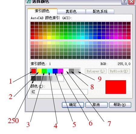 CAD索引颜色