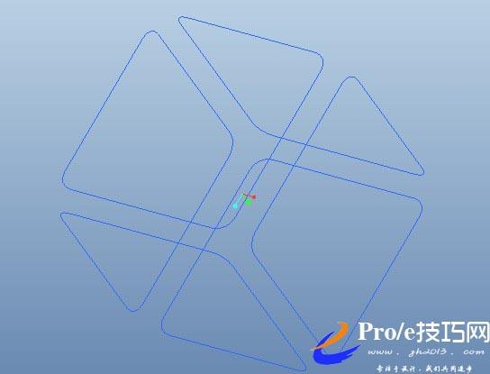 正方形线材封闭框proe建模实例图文教程