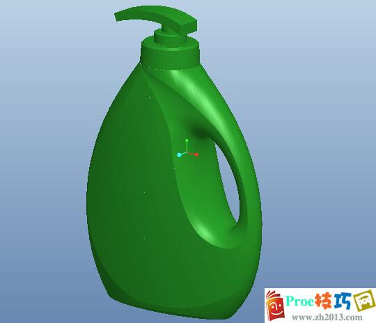 蓝月亮洗衣液瓶子proe三维模型下载