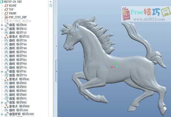 proe骏马模型下载_proe图纸下载