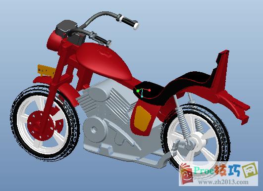 Proe摩托车组件模型