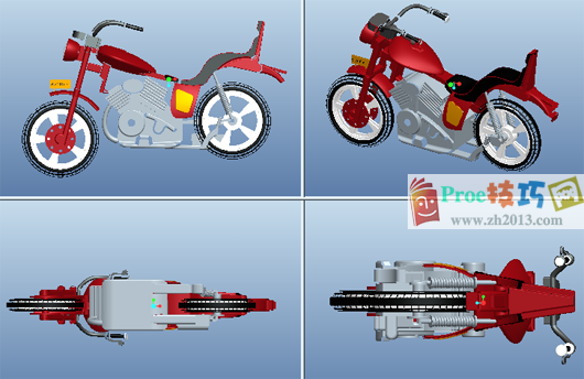 proe三视图_proe摩托车图纸下载