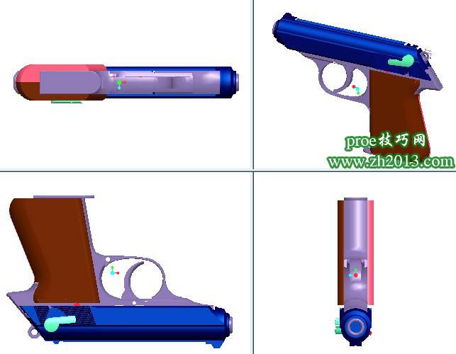 proe手枪3D模型