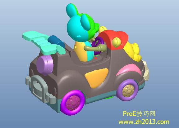 proe儿童玩具车模型免费下载